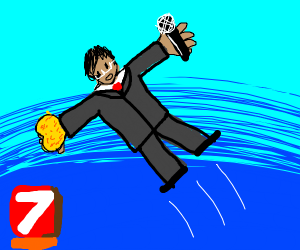 News Anchor flying with a Sponge