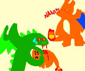 A green dragon kills a charmander