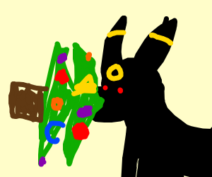 Umbreon swallowing Christmas tree whole