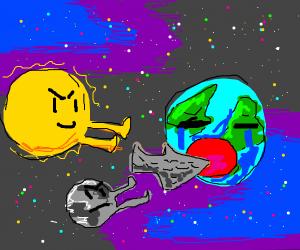 Sun and Moon make Earth eat Artifact
