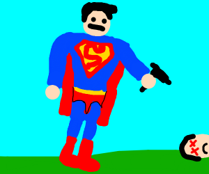 Superman shoots someone with a gun