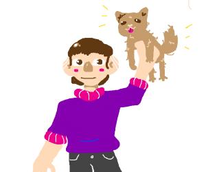 A boy wants a dog (not a small dog)