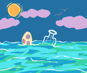 Egg and Bottle floating in the ocean