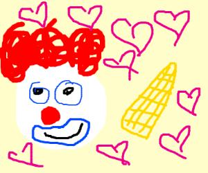 a clown finds his true love: corn