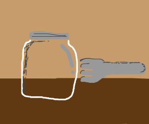 Poking a glass jar with a fork