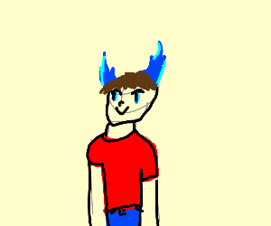 Purple anime man with blue flame horns
