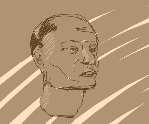 An unamused looking head, with sketch lines.