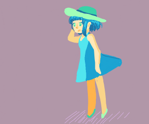 Blue haired girl in blue dress in dramamoment