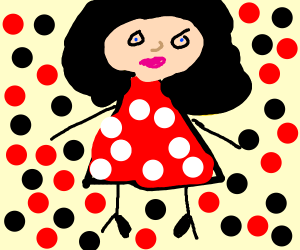 Betty Boop surrounded by black and red dots.