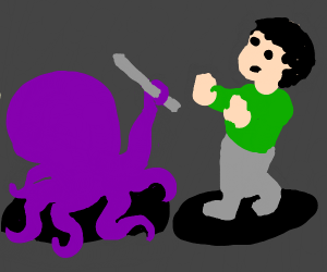 purple octopus attacked man in green shirt