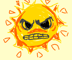 The sun from mario 3 staring down at us