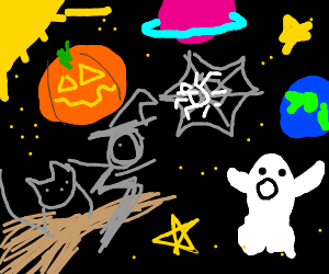 Halloween items floating in space