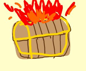 Treasure chest on fire