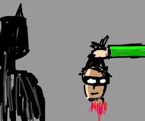 Batman is offered Robin's head