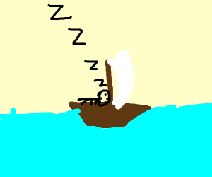 man has passed out in brown sailboat