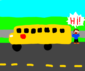 A guy shouting to the school bus