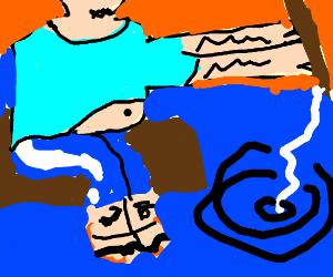 Man wearing blue, fishing