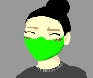 anime girl with a green mask on