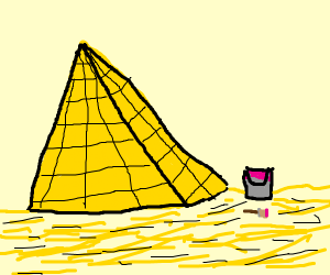 pyramid and a bucket of paint