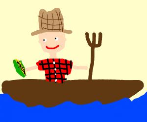 Farmer on a boat