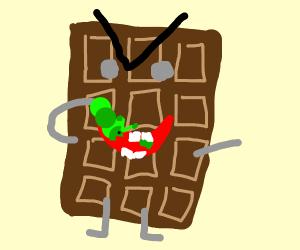 angry chocolate bar enjoying a catapillar