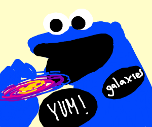Cookie Monster consumes galaxies