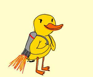 Duck with a jet pack