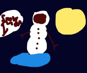 snowman astronaut dissolving into the sun