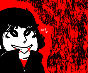 Happy vampire with bloody fangs