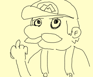 Edgy Mario flipping u off