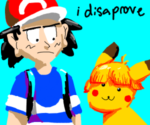 Ash doesn't like pikachu's new hairstyle