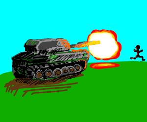 Tank fires at man
