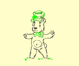 Little bear with green hat and tie
