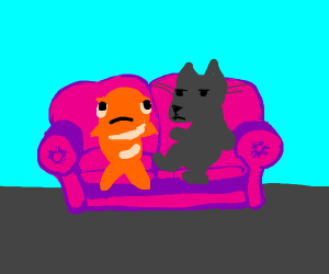bored fish and cat couch potatoes