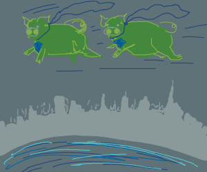 two green super pigs flying around town