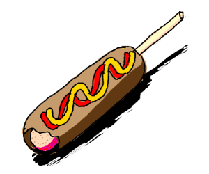 Corn dog with mustard and ketchup