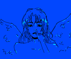 blue girl with wings touches her nose