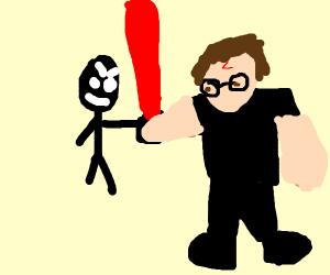 Olivander gives Harry a lightsaber.