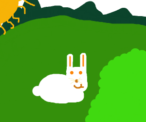 Cute bunny near a bush