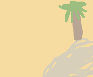 Palm tree with coconuts on tiny island
