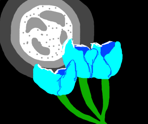 Pretty moon with blue flowers