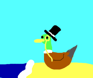 gentlemanly duck on the bench