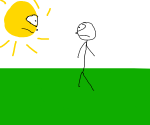The sun and a man have a staring contest