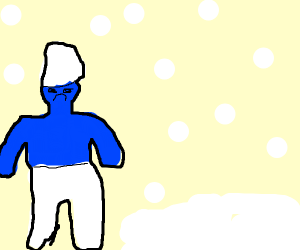 Smurf doesn't like snow