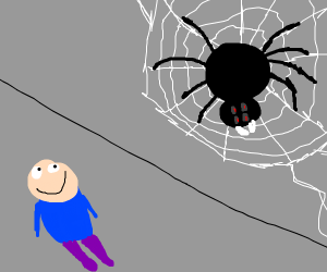 spider building a web with a guy watching him