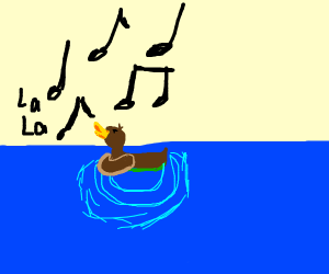 a duck singing on the water