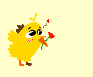 Adorable chick with rose in mouth