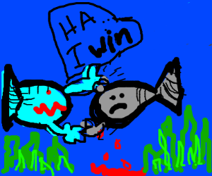 two fish fighting