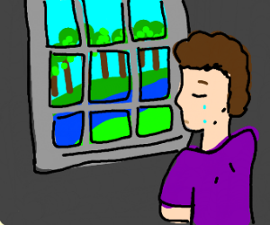 Sad person watching the river from a window