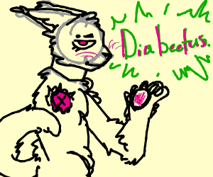 """a cat with the word""""diabeetus""""in front of it"""
